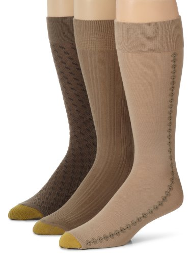 Gold Toe 3 Pack Mens Extended Size Fashion Socks, Dust/Winter Khaki/Taupe, 13-15