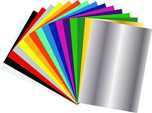 Flexfolie/Plotterfolie Set, 16 Blätter DIN A4 in verschiedenen Farben für den Textil Druck, 160 C° - 15 sek.