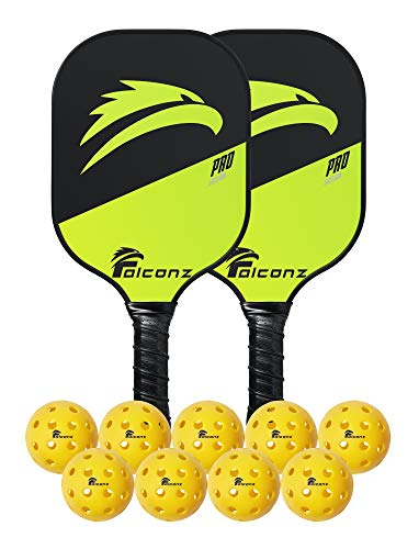 Falconz Pickleball Set - 2 Lightweight Graphite Paddles with Honeycomb Internal Structure and 9 Pickleball Balls