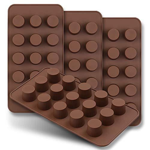 homEdge Mini-Schokoladenform mit 15 Mulden, Set mit 4 antihaftbeschichteten Lebensmittel-Silikonformen für Süßigkeiten, Keto, Schokolade, Erdnussbutter