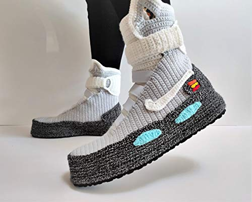 Back to the Future Knitted Slippers, Crochet Knitted Home Men's Women's Air Mags Custom Slippers, Cosplay Boots, Flying Shoes,