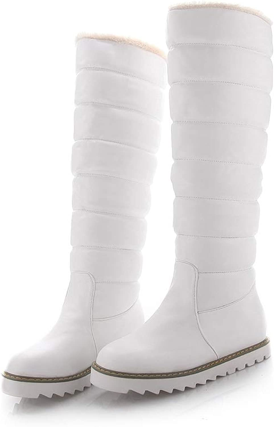 Hoxekle Fashion White Elegant Women shoes Wedge Low Heel Mid Calf Snow Boots Women Motorcycle Boots
