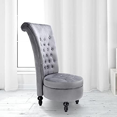 TOLEAD Sillon de Respaldo Alto Clásico Tapizado de Tela Gris Asiento Elegante Sillón Con Espacio De Almacenamiento Para Dormitorio Y Salón