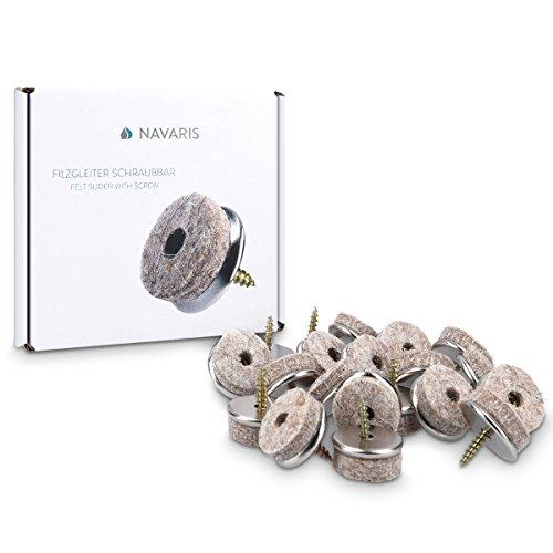 20x Navaris Filzgleiter mit Schraube Stuhlgleiter - Bodenschutz Gleiter 30mm - Schutz für Möbel Stühle Parkett Laminat - Filz und Metall - rund