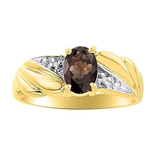 Diamond & Smoky - Anillo de cuarzo chapado en oro amarillo y piedra de nacimiento de color plateado