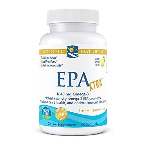 Nordic Naturals EPA Xtra, Lemon - 60 Soft Gels - 1640 mg Omega-3 - High-Intensity EPA Formula for Positive Mood, Heart Health & Healthy Immunity - Non-GMO - 30 Servings