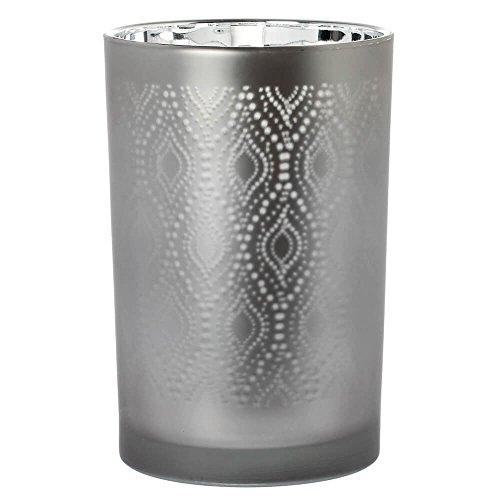 Riverdale Windlicht/Vase aus Glas mit Ornamentmuster grau/silber 18 cm