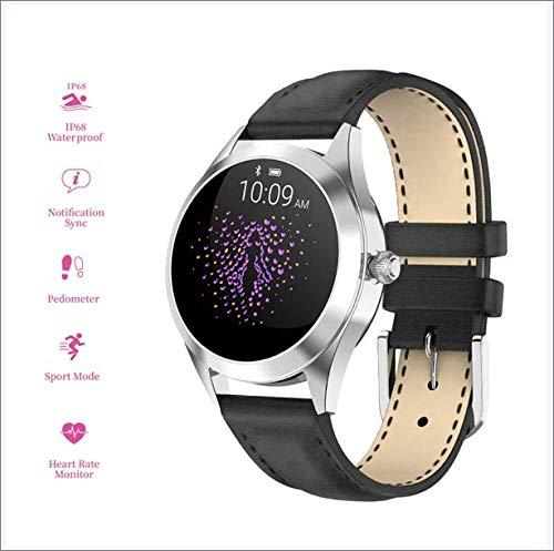 CHPIR Écran Tactile Ronde des Femmes IP68 Étanche Smartwatch, Tracker Fitness pour Sommeil Et Fréquence Cardiaque Podomètre, Android/iOS Bracelet,Noir
