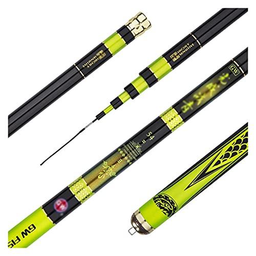 XFYJR Caña De Pescar Pole De Pesca Telescópico Potencia De Carbono Extra Larga Mano Pole Spinning Pegado De Agua Dulce Punta De Repuesto 360 ° Poste Giratorio (Color : Yellow, Size : 7.2m)