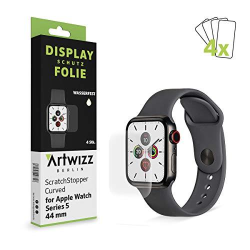 Artwizz ScratchStopper Curved Displayschutz Designed für [Apple Watch 5-4 (44 mm)] - Ultra-dünne, Wasserfeste Displayschutzfolie mit 100% Display-Abdeckung