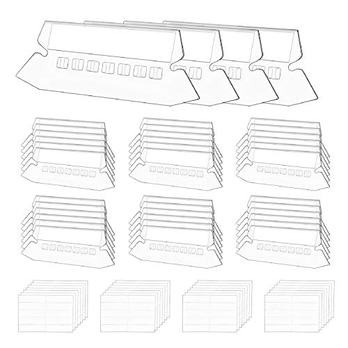 "EAONE 100+200 Sets File Folder Tabs with Inserts, 2"" Plastic Hanging File Folders Tabs Office Home Quick Organization and Identification Supplies"