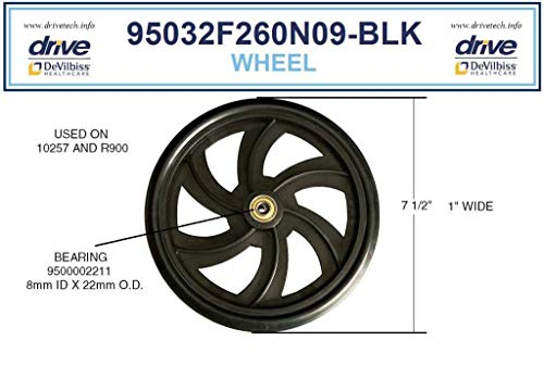 Drive Replacement Wheel for Rollator Model 10257 (Wheel Black 7.5')