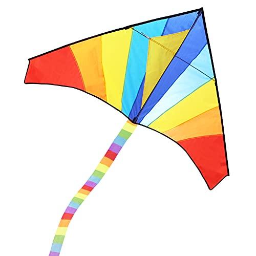 ECHOCUBE Großer Drachen für Kinder und Erwachsene, Regenbogen Drachen Delta-Drachen mit 290cm Streifenschwänze, Einleiner-Flugdrachen für Kinder ab 3 Jahren, 150x80cm, inkl. 100m Drachenschnur