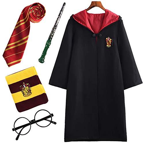 FStory&Winyee Kinder Erwachsene Harry Potter Kostüm Umhang Gryffindor Fanartikel Outfit Set Zauberstab Krawatte Schal Brille Karneval Verkleidung Halloween Faschingskostüm Schwarz 115-185 Groß Größe