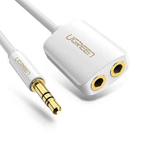 UGREEN 3.5mm Audio Stereo Y Splitter Cable 3.5mm Male to 2 Port 3.5mm Female for Earphone and Headset Splitter Adapter (White)
