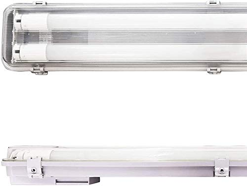 POPP® Pantalla Estanca de 2 Tubos de LED de 600MM, 18W IP65 Impermeable, Prueba de polvo, PC/PC para Parking Interior y Exterior. (18 watios)