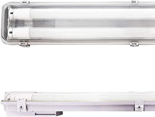 POPP Pantalla Estanca de 2 Tubos de LED de 600MM, 18W IP65 Impermeable, Prueba de polvo, PC/PC para Parking Interior y Exterior. (18 watios)