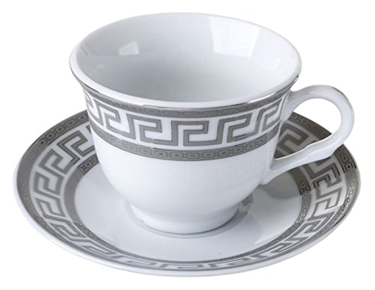 Imperial Gift D1347A-12 12 Piece Greek Key Espresso Cup & Saucer Set Gift Boxed Silver