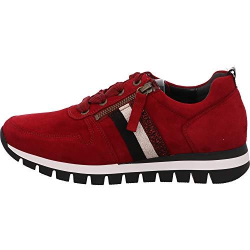 Gabor Damen Low Top Sneaker low, Frauen Schnürhalbschuhe,Wechselfußbett,Mehrweite, halbschuh strassenschuh,dk-opera(schw/rot),41 EU / 7.5 UK