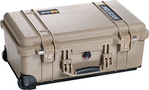 pelican carryon rollers Pelican 1514 Tan Case With Padded Dividers and Wheels