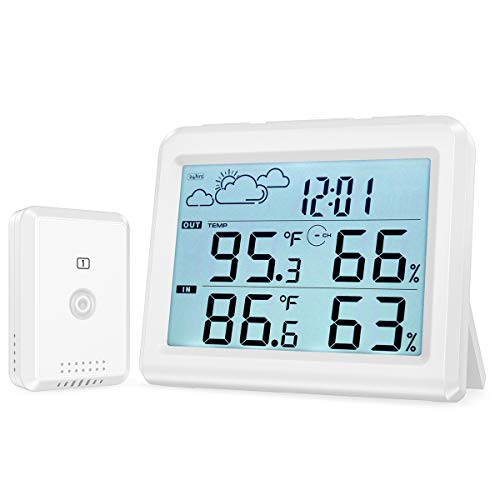 ORIA Digitaler Thermometer, Innen Außen Thermometer Hygrometer mit Sensor, Temperatur und Feuchtigkeits Monitor mit Wetterstation Funktion, Hintergrundbeleuchtung, Max/Min, ℃ / ℉, Uhr & Alarm
