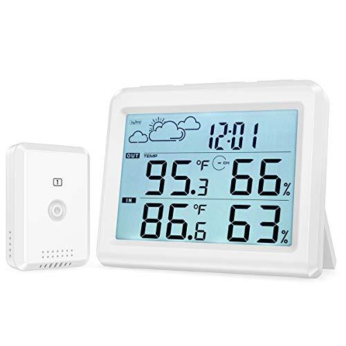ORIA Wetterstation, Innen Außen Thermometer Hygrometer mit Sensor, Digitaler Temperatur und Feuchtigkeits Monitor mit Hintergrundbeleuchtung, Max/Min, ℃ / ℉, Uhr & Alarm Wettervorhersagefunktion