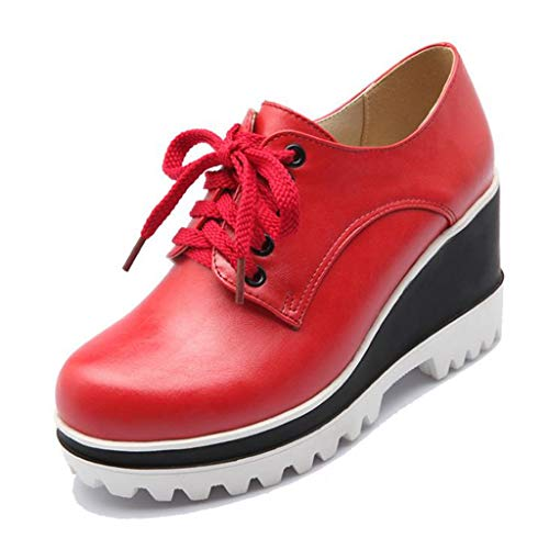 MIOKE Women's Platform Wedge Oxfords Shoes Round Toe Wingtip Leather Lace Up Chunky High Heel Dress Shoes Red