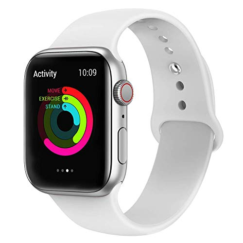 VIKATech Correa de Repuesto Compatible con Apple Watch de 40 mm 38 mm, Correa de Silicona Suave de Repuesto para iWatch Series 4/3/2/1, S/M, White