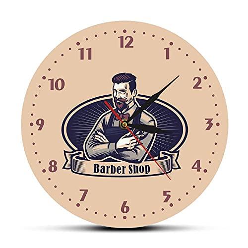JKLMZYT Retro Hombre Cueva barbería Letrero publicitario Reloj de Pared Peluquero Corte de Pelo Colgante salón Arte decoración Reloj de Pared Estilista regalos-30X30cm
