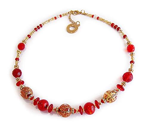 VENEZIA CLASSICA - Collana da Donna girocollo con perle in Vetro di Murano Originale, Collezione Diana, rosso con foglia in oro 24kt, Made in Italy certificato