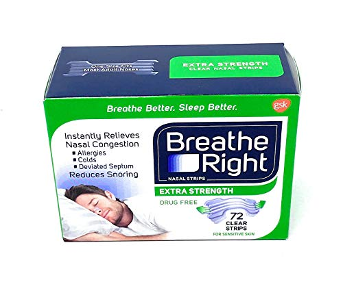Breathe Right Nasal Strips - Extra Strength - CLEAR - 72 Clear Strips