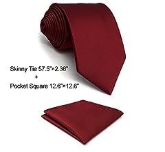 shlax&wing Boda Nuevo Hombre Corbatas Para Seda Color Sólido Rojo ...
