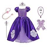 MYRISAM Vestidos de Princesa Sofia para Niñas Disfraz de Carnaval Rapunzel Traje de Halloween Navidad Cumpleaños Fiesta Ceremonia Aniversario Cosplay Vestir con Accesorios 10-11 años