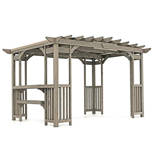MM Cedar Pergola Gazebo with Bar Counter and Sunshade in Timber Gray Stain 12' x 8' Footprint