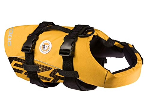 EzyDog Premium Doggy Flotation Device (DFD) - Adjustable Dog Life Jacket Preserver with Reflective Trim - Durable Grab Handle for Safety and Protection - 50% More Flotation Material (Large, Yellow)