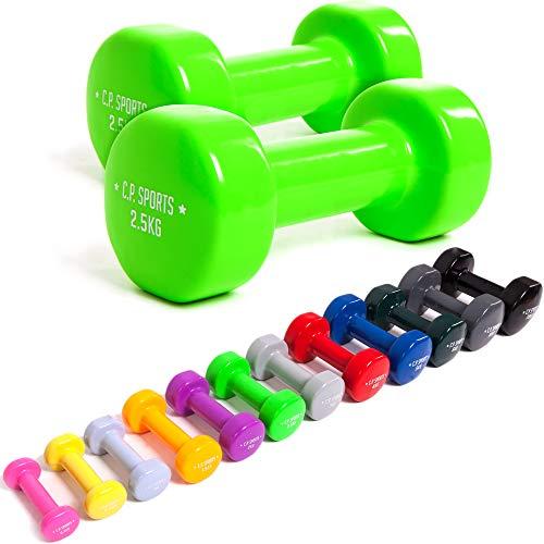 C.P.Sports - Manubri da ginnastica sportivi, 0,5 kg - 0,75 kg - 1,0 kg - 1,5 kg - 2,0 kg - 2,5 kg - 3,0 kg - 4,0 kg - 5,0 kg - 6,0 kg - 8,0 kg - 10,0 kg, manubri in vinile, pesi, 0,75 kg – coppia