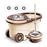 ZCVB Spin Mop and Bucket Set with Wringer, 360 Spin Dry Basket with 5 Replacements Microfiber Mop Heads and Stainless Steel Adjustable Handle for Home Floor Cleaning