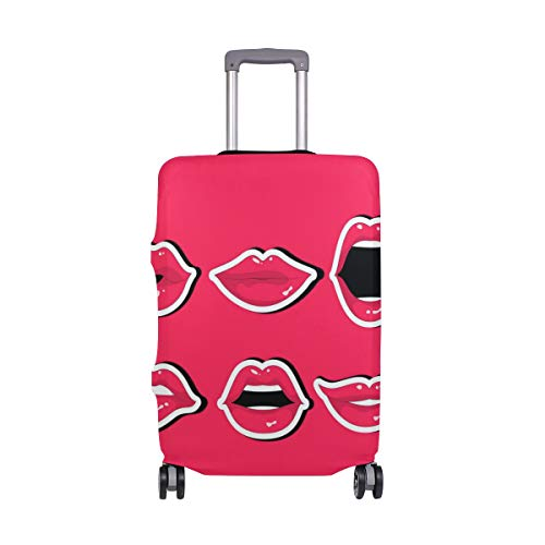 ALINLO Cute Red Lips Luggage Cover Baggage Suitcase Travel Protector Fit for 18-32 inch
