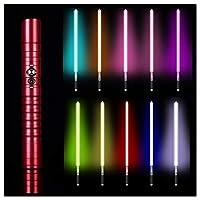 フォースFXライトセーバー11色RGBライトセーバー、ジェダイシスヘビーデュエルLEDライトセーバー、メタルアルミニウムヒルト、USB充電フォースライトセーバーグローイングサウンド,赤,39.37in