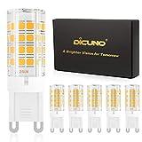 DiCUNO G9 Bombilla LED 4W (40W Bombilla Halógena Equivalente), 450LM, Ahorro de energía, Blanco cálido 3000K, AC100-240V, No-regulables, Base ceramica, 360 Grados ángulo, Paquete de 6