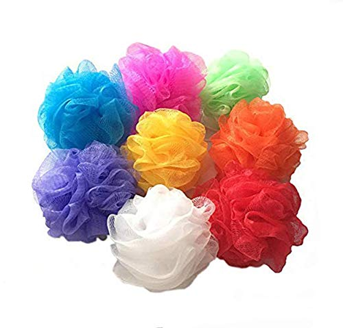 Mesh Loofah Sponges, 8-Pack Small Loofahs for Kids Colorful Sponges Mesh Pouf Resuable Shower Sponges Loofah Bath Ball Back (8 Pack)