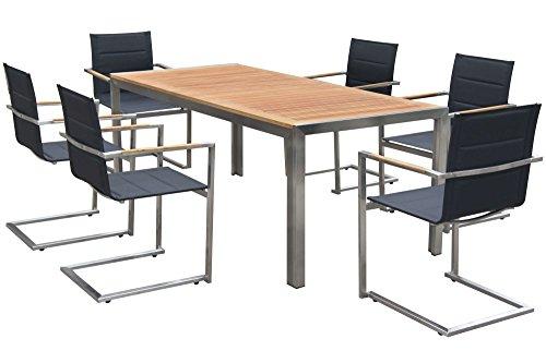 OUTFLEXX Esstischgruppe, schwarz, Edelstahl/Teak, Tisch 180x90cm, 6 Stapelstühle gepolstert