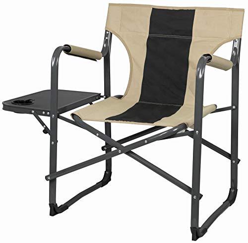 CaPTURE - Sillón cómodo, asiento de camping Deluxe Relax CR-136, con estante lateral plegable, portavasos integrado, etc.