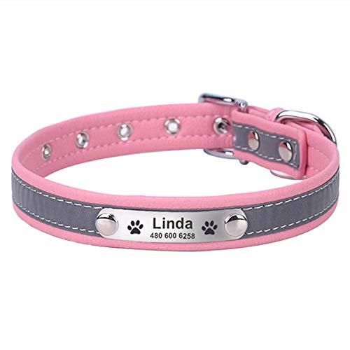 DC CLOUD Collar para Perros Collar Ancho para Gatos con Nombre Collar Reflectante Perro Ajustable No Es Fácil De Usar para Cachorros Perros Y Gatos Pequeños Medianos Medium,Pink