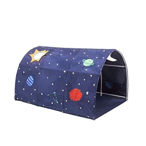 Cozyhoma Kinder Spielbett Zelt Kindertunnel für 90-100 cm Breite Hochbett Etagenbett Kinderzelt, blau, 100x140x80cm