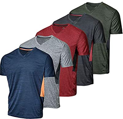5 Pack:Men's Athletic V Neck T-Shirt Quick Dry Fit Dri-Fit Short Sleeve Active Wear Training Exercise Fitness Workout Tee Fitness Gym Workout Clothing Undershirt Sports Wicking Top-Set 4,XL