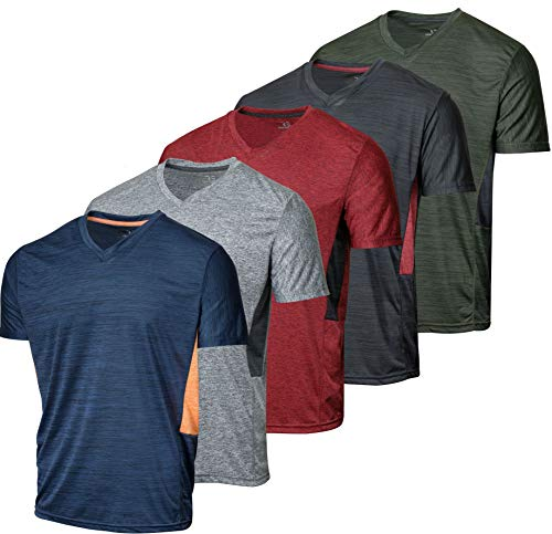 5 Pack:Men's Athletic V Neck T-Shirt Quick Dry Fit Dri-Fit Short Sleeve Active Wear Training Exercise Fitness Workout Tee Fitness Gym Workout Clothing Undershirt Sports Wicking Top-Set 4,L