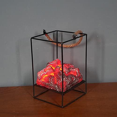 Alexsix Fireplace Lanterns Great interest - LED Light Max 63% OFF Simulated Char