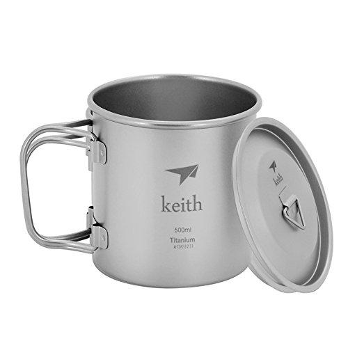 Keith Becher aus Titan, 350 ml, mit Deckel, klappbarer Griff, Campingbecher