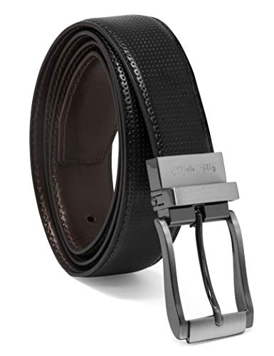 Steve Madden Men's Dress Casual Every Day Reversible Leather Belt, Black/Brown (Burnished), 36